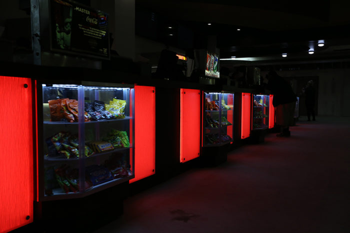 red led light panel counter theater