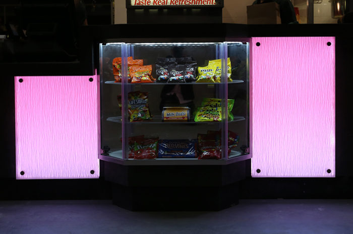 pink led light panel counter theater