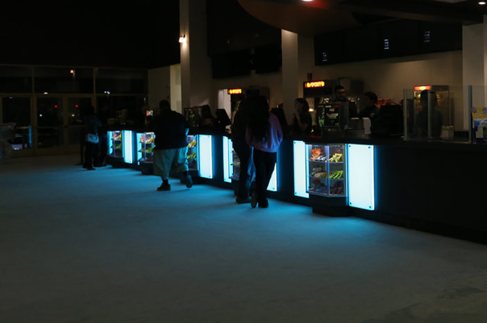 blue led light panel counter decoration theater