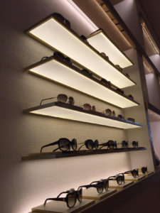 LED light sunglasses display store