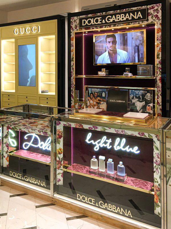 Illuminated Cosmetics Display: Dolce & Gabbana